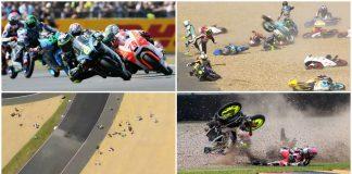 Queda coletiva provoca um verdadeiro caos na corrida de Moto3
