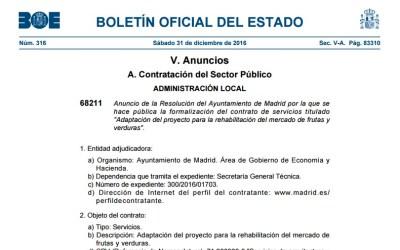 Contrato para el nuevo proyecto municipal para el Mercado de Legazpi