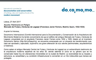 Carta de Docomomo a las instituciones madrileñas sobre el Mercado de Legazpi