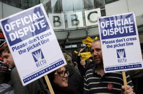 Empleados de la BBC protestan