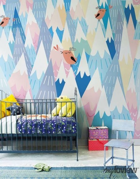 wallpaper montagne uccellini