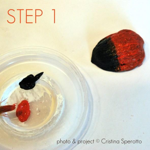 STEP 1+coccinelle+riciclo creativo+guscio noci+cristina sperotto