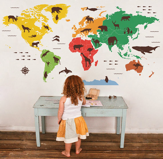 Wall decal of world map at home and interior design ideas unique animal world map decal etsy gumiabroncs Gallery