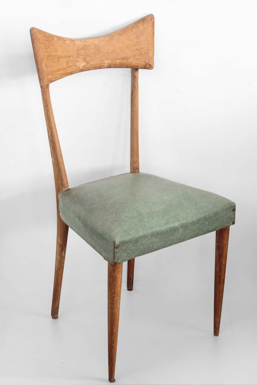 Sedia vintage in legno degli anni '60 circa. Sedia Legni Curvi Ecopelle Anni 50 60 Vintage Parisi Eureka Mercatino Dell Usato