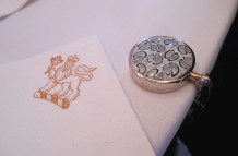 "on of my mosaic purse hooks with an ""official"" Rideau Hall napkin. :)"