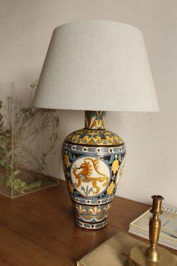 Lámpara de mesa en cerámica de cuerda seca, taller Mensaka, c. 1920