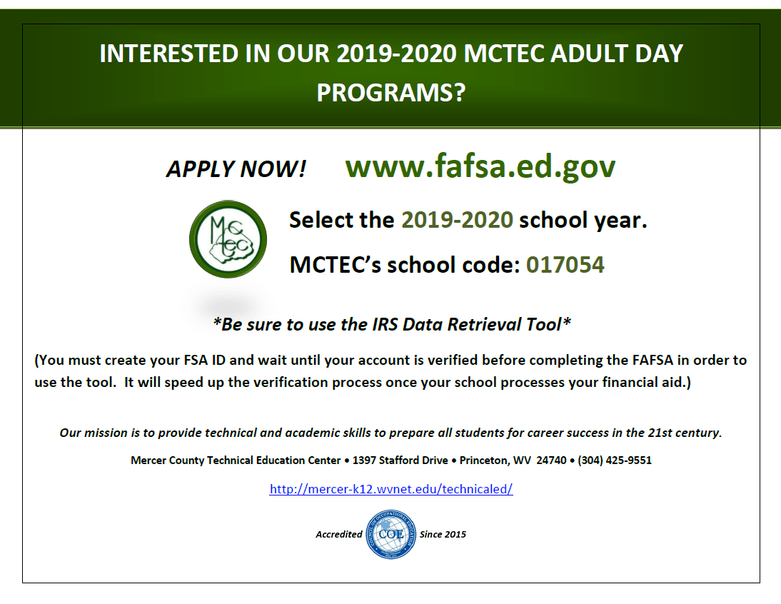 Financial Aid News Mercer County Technical Education Center