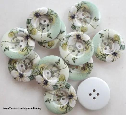 bouton bois décor fleur