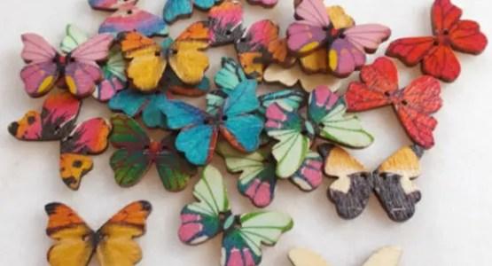 réf : 05-b-25-001 bouton en bois forme papillon