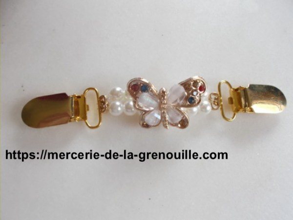 réf 05-m-0005 Broche clip papillon blanc