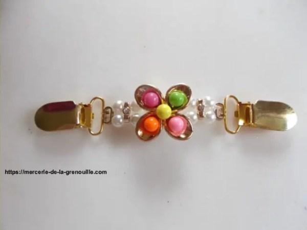 réf 05-m-0004 Broche clip fleur multicolore