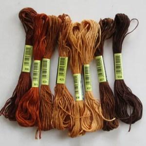 réf 08-L-b-0002 fils à broder 8 nuances marron