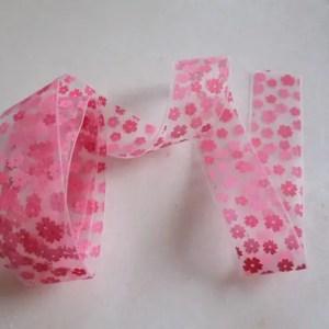 réf 10-p-25-030 ruban transparent avec des fleurs