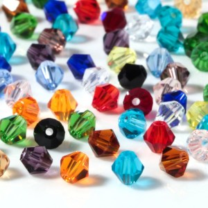 Perles toupies multicolores 4 mm