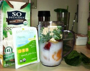 The basics: Spinach, fruit, protien, coconut milk.