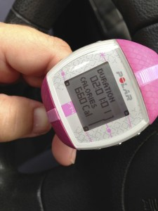 "Calorie Burn from 1hr of ""Cardio Chaos"" and a bit of run/walk warm-up. Boom."