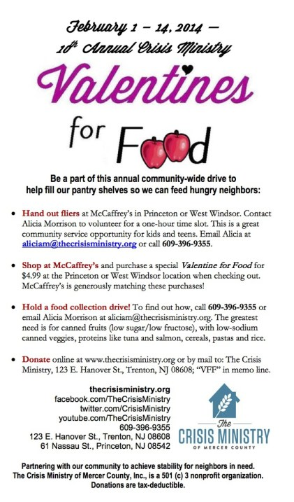 Valentines for Food 2014 will fill the Crisis Ministry pantry shelves
