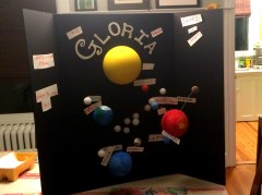 "D1's HES Science Project. Now the cat's out of the bag -- either D1 is named Gloria or D1 is doing a project named ""Gloria"""