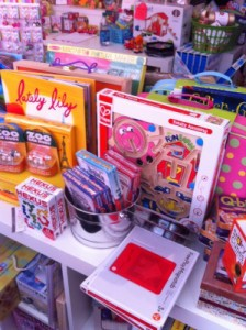 Twirl Toy Store in Pennington features a display of travel toys.