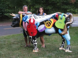 Ron and Leah Balerno with Music B. Ox at Howe Commons. Photo courtesy Hopewell Valley Arts Council.