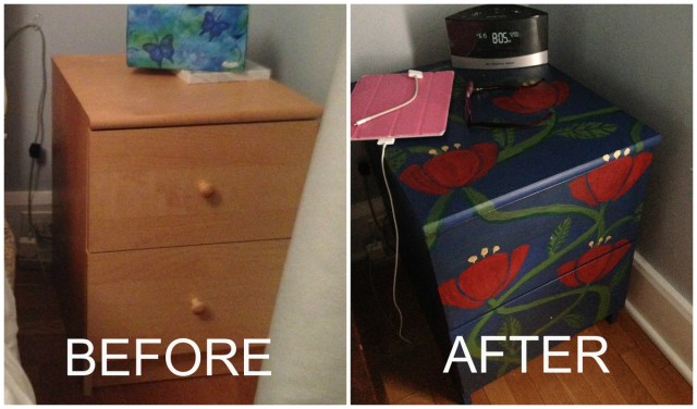 Here's what I painted -- boring IKEA filing cabinet no more!