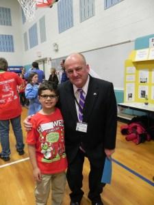 Mayor Paul Anzano and student Matthew Helmrich