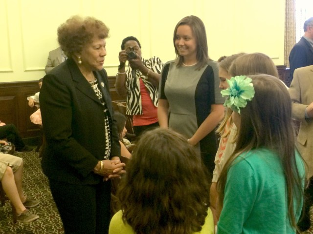 senator turner with students and teacher