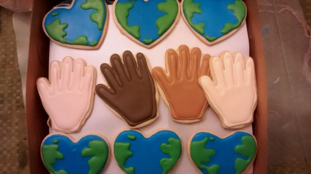 diversity hands sugar cupid cookie