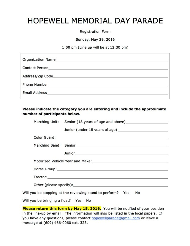 Hopewell Parade Registration