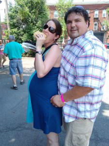 Chris with her husband Tommy starting the pork roll love in utero