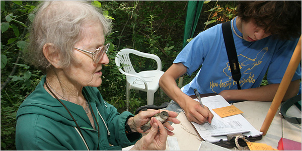 """""""Bird Woman of the Sourlands"""" Portraits of Hannah Suthers' Bird Banding by PDS Student Erica Walsh"""