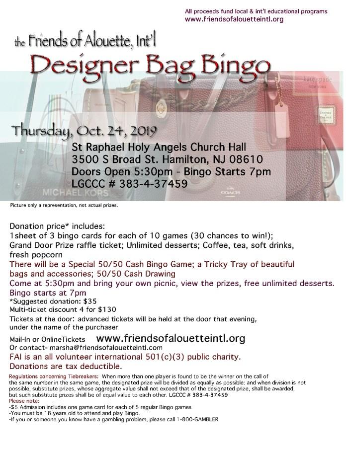 FAI Designer Handbag Bingo