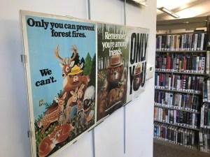 Vintage Smokey Bear posters on display