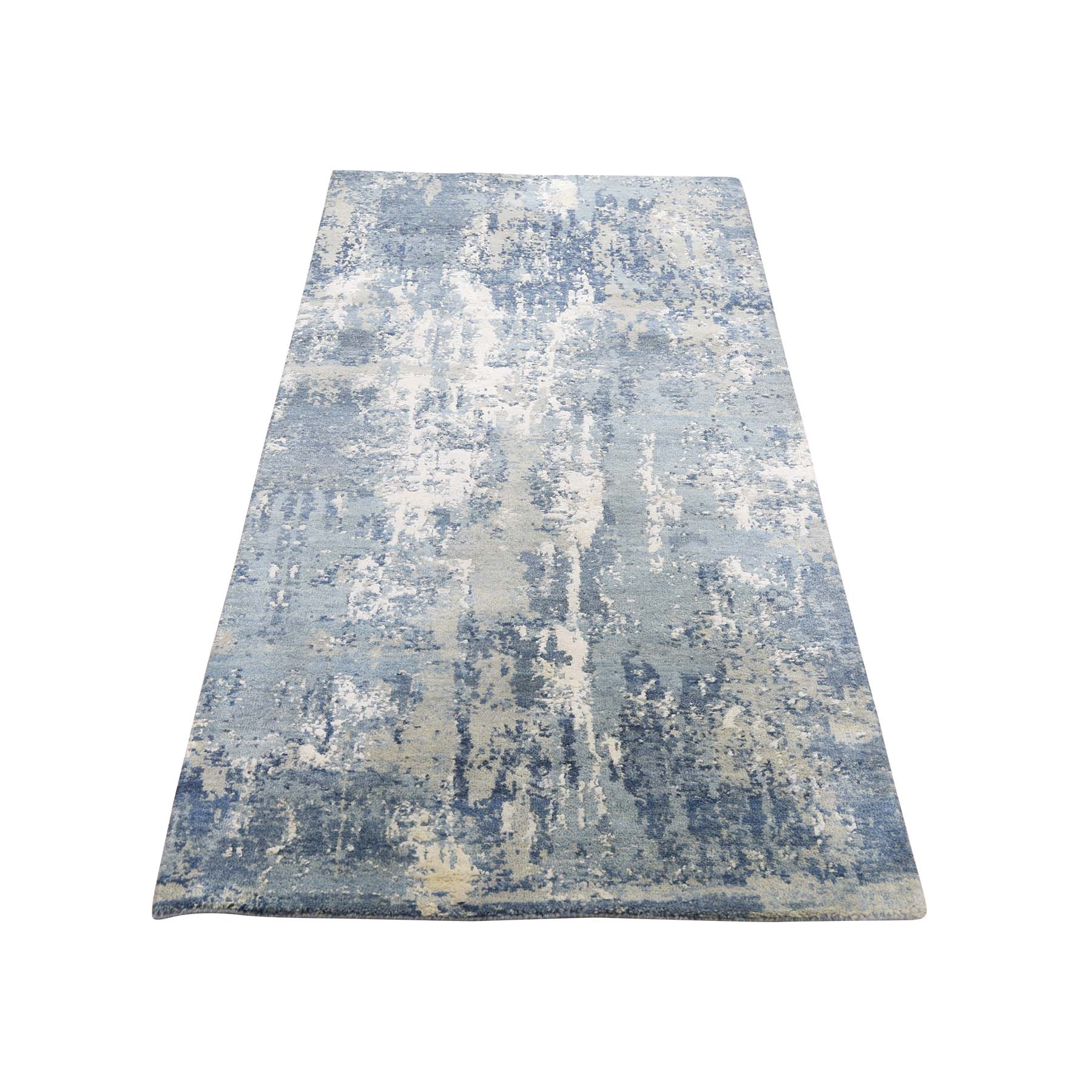 2 7 X6 1 Blue Gray Abstract Design Wool And Pure Silk Hand Woven Oriental Runner Rug