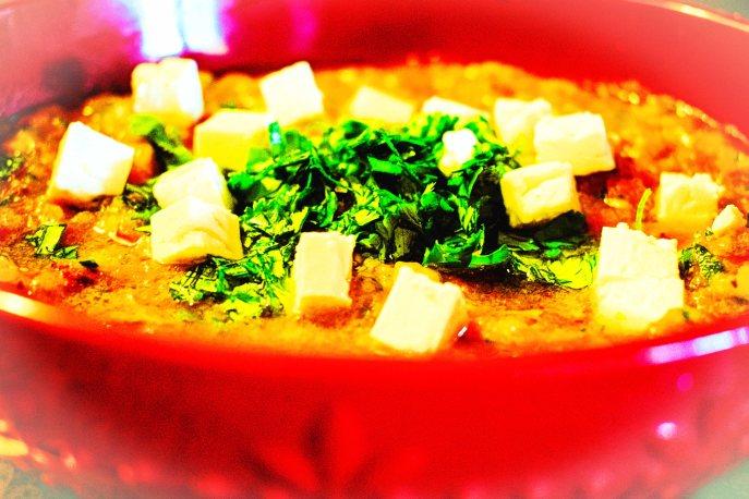 Classic gazpacho ~ garnished with fresh herbs and feta cheese