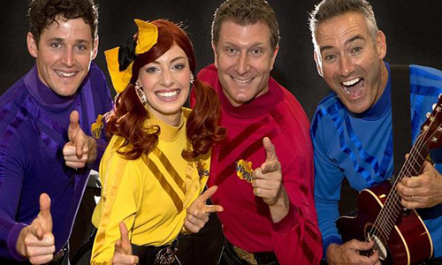 The wiggles return to Melbourne with 3 new members.  Yellow Wiggle is Emma, Purple wiggle is Lachlan, Red wiggle is Simon and the original blue wiggle is Anthony.  Photo: Chris Scott