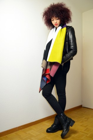 mercredie-blog-mode-geneve-2015-perfecto-balenciaga-biker-jacket-leather-afro-hair-natural-nappy-biker-boots-minelli-echarpe-scarf-burberry-like-ersatz-sheinside