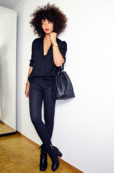 mercredie-blog-mode-geneve-suisse-fashion-blogger-switzerland-chemise-acne-shirt-silk-Patti-organza-trimmed-satin-twill-black-slim-bottines-hautes-talons-hm-2014-afro-hair-natural-curls-curly-nappy-cheveux-frise