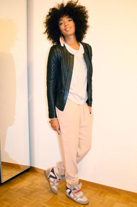 mercredie-blog-mode-lookbook-look-pantalon-ample-mango-t-shirt-clous-studded-blouson-cuir-bel-air-sneakers-isabel-marant-bois-de-rose-2