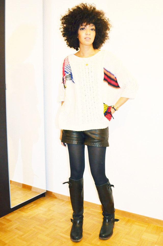 mercredie-blog-mode-short-cuir-bottes-zip-pull-topshop-ersatz-isabel-marant-afro-hair-cheveux-naturels