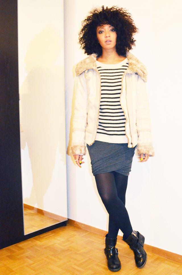 mercredie-blog-mode-boots-jules-allsaints-blouson-bershka-jupe-plissee-ebay-isabel-marant-ersatz-vanessa-bruno-afro-nappy-hair-mariniere