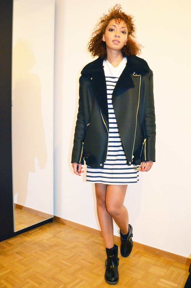 mercredie-blog-mode-beaute-mariniere-robe-just-female-dress-boots-biker-jules-allsaints-all-saints-curly-hair-nappy-hair-natural-stylenanda-shearling-jacket-acne-ersatz-3
