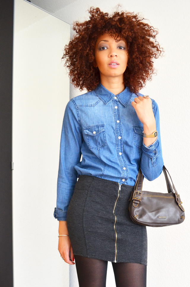 mercredie-blog-mode-suisse-geneve-fashion-blogger-denim-shirt-chemise-jennyfer-jupe-taille-haute-mango-afro-hair-cheveux-nappy