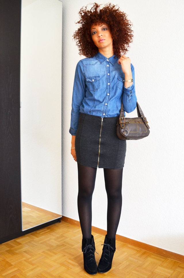 mercredie-blog-mode-suisse-geneve-fashion-blogger-denim-shirt-chemise-jennyfer-jupe-taille-haute-mango-ash-ersatz-afro-hair-cheveux-nappy