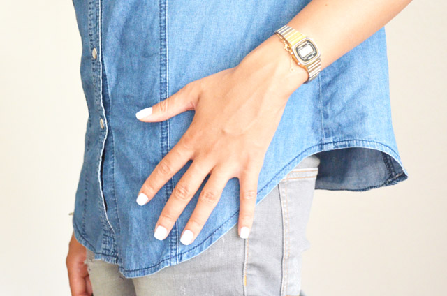 mercredie-blog-mode-geneve-switzerland-fashion-blogger-white-nail-polish-varnish-vernis-blanc-denim-shirt-chemise-jean