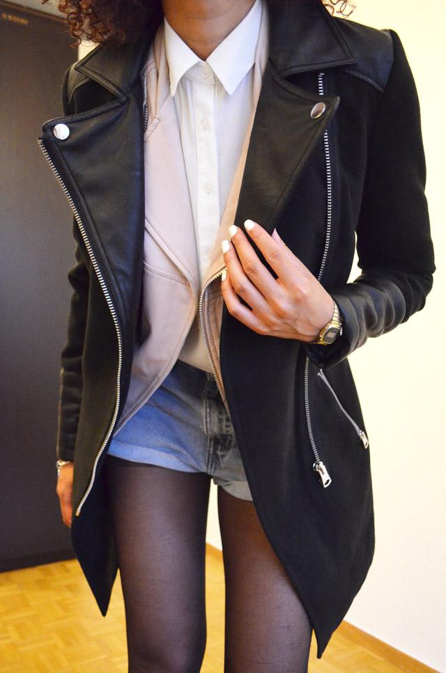 mercredie-blog-mode-beaute-suisse-geneve-bottines-h&m-2013-short-levis-501-chemise-blanche-newlook-look-cheveux-afro-gilet-cuir-blouson-sans-manches-maje-rose-zip-2013-manteau-sandro-like-ersatz-zara-bi-matiere-cuir-c&a