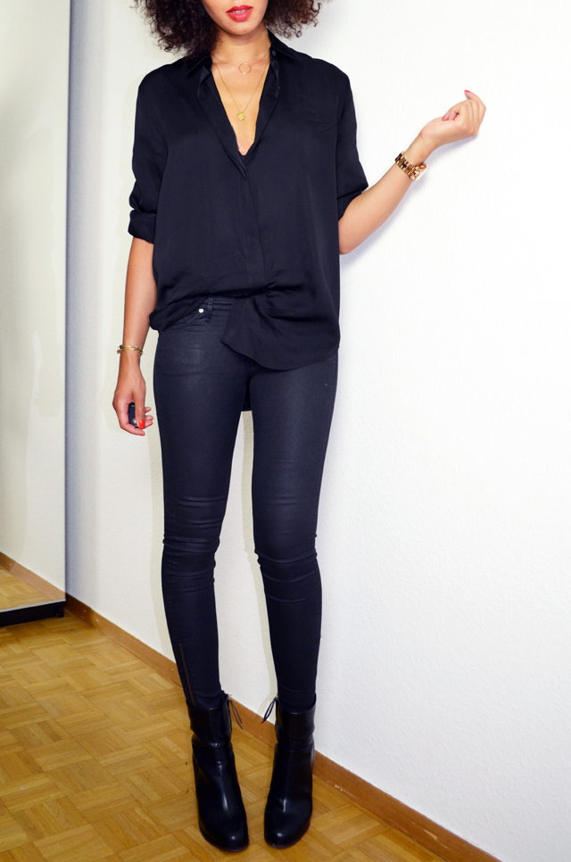 mercredie-blog-mode-geneve-suisse-fashion-blogger-switzerland-chemise-acne-shirt-silk-Patti-organza-trimmed satin-twill-black-slim-bottines-hautes-talons-h&m-2014