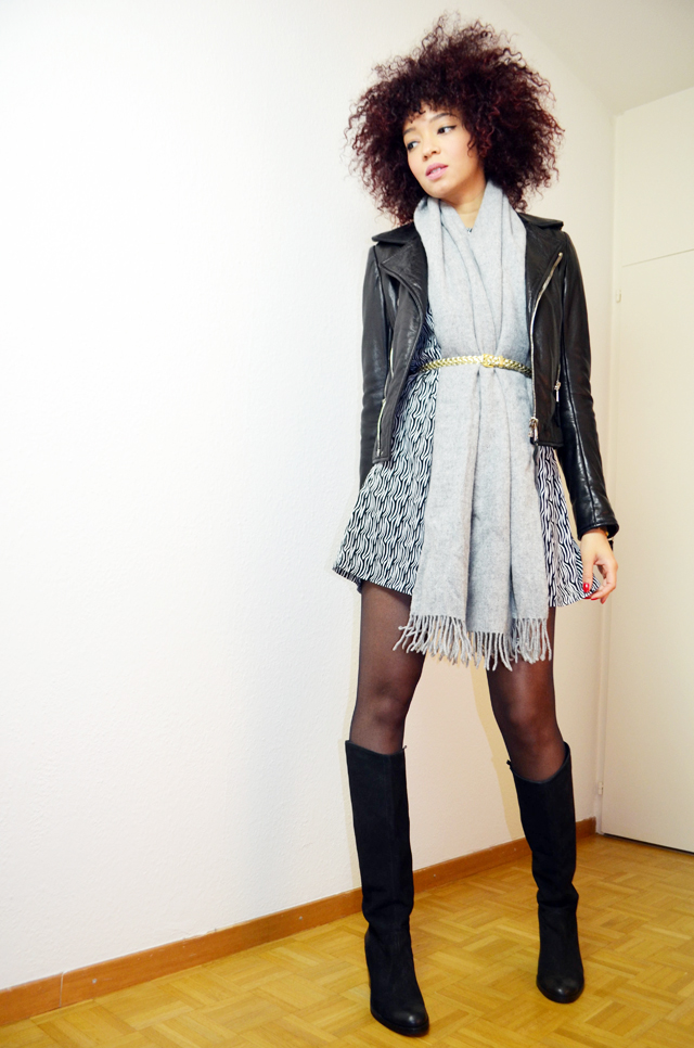 mercredie-blog-mode-bottes-h&m-vintage-robe-clo&se-monshowroom-grosse-echarpe-oversized-grise-balenciaga-biker-leather-jacket-perfecto