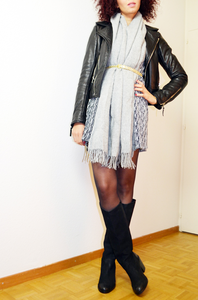mercredie-blog-mode-bottes-h&m-vintage-robe-clo&se-monshowroom-grosse-echarpe-oversized-grise-balenciaga-biker-leather-jacket-perfecto2