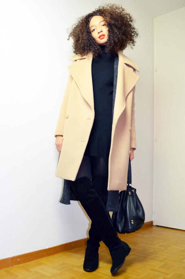 mercredie-blog-mode-cardigan-geneve-new-look-cotele-robe-col-roule-zara-lacewig-jenna-riley-chinese-laundry-over-the-knee-boots-otc-manteau-stella-mccartney-fiamma-beige-camel-oversized-boyfriend-coat-double-breasted